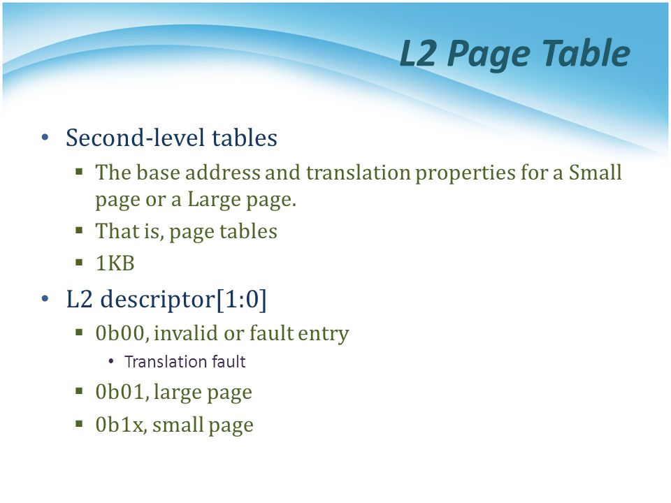 L2 Page Table Second-level tables L2 descriptor[1:0]